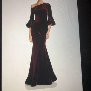 One Shoulder Velvet Merlot Gown 10